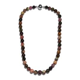 Multi-Tourmaline Necklace (Size 18) in Platinum Overlay Sterling Silver 405.00 Ct.