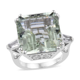 16 Carat Green Amethyst and White Topaz Cocktail Ring in Platinum Plated Sterling Silver 6.22 Grams