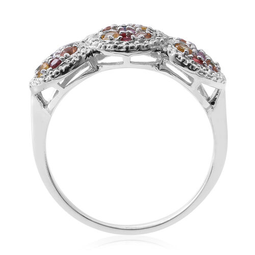 Rainbow Sapphire (Rnd) Ring in Rhodium Plated Sterling Silver 1.260 Ct