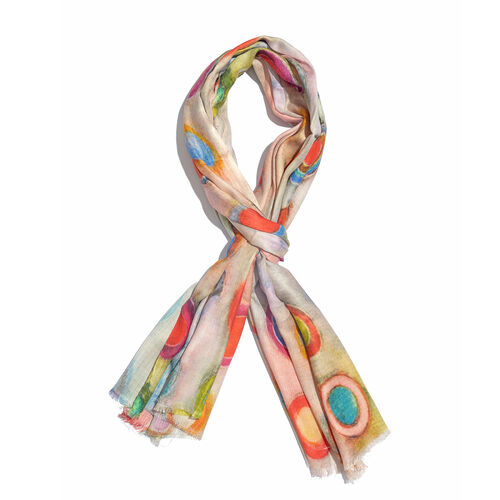 One Time Deal- 100% Modal Off White and Multi Colour Circle Digital Printed Scarf (Size 200x70 Cm)