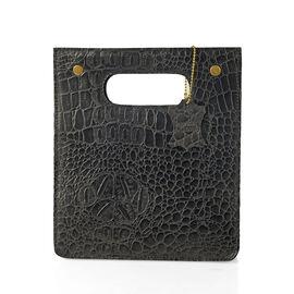 Super Chic 100% Genuine Leather Olive Black Colour Crocodile Embossed Structured Shopper Bag (Size 2