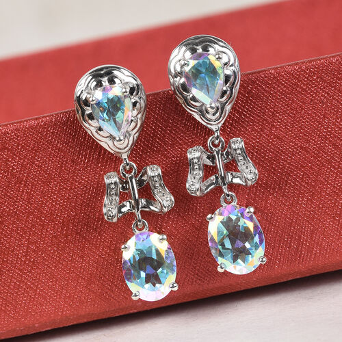 Mercury Mystic Topaz Earrings (with Push Back) in Platinum Overlay Sterling Silver 5.50 Ct.
