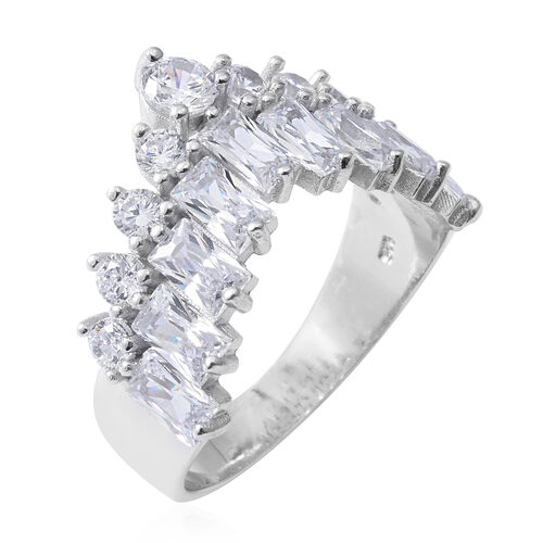 Designer Inspired- ELANZA Simulated Diamond (Rnd and Bgt) Ring in Rhodium Overlay Sterling Silver