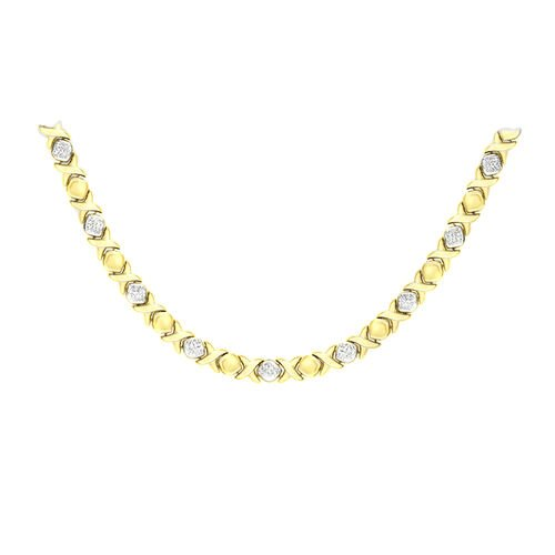 9K White and Yellow Gold Diamond Cut Hugs and Kisses Necklace (Size 17), Gold wt 13.20 Gms.