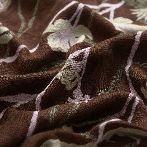 Multi Colour Floral Pattern Dark Chocolate Colour Scarf (Size 170x70 Cm)