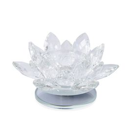 2 Piece Set Rotating Crystal Lotus Candle Holder (Size 12x6.5 Cm) Colour White