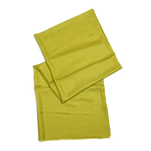 100% Cashmere Wool Olive Green Colour Scarf (Size 190x70 Cm)