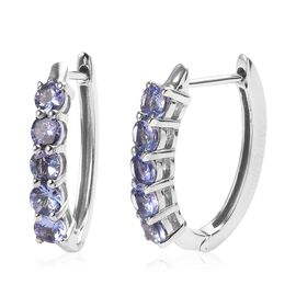 Tanzanite Hoop Earrings in Platinum Plated Sterling Silver 1.75 Ct