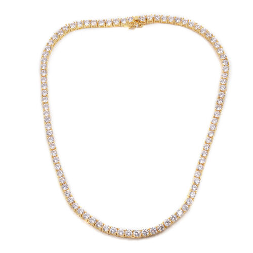 Close Out Deal Simulated Diamond (Rnd) Necklace (Size 17) in Gold Bond