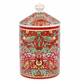 Lesser & Pavey William Morris Strawberry Thief Red Candle Jar(13X8 CM )