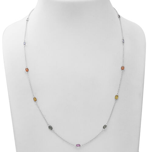 Multi Sapphire Station Necklace (Size 24 with 1 inch Extender) in Rhodium Overlay Sterling Silver 7.28 Ct