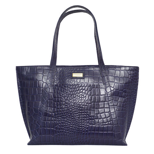 Assots London AGNES Croc Embossed Genuine Leather Tote Bag with Zipper Closure (Size 33x11x26 Cm) -