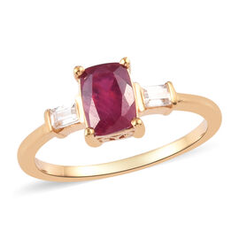 African Ruby and Natural Cambodian Zircon Ring in 14K Gold Overlay Sterling Silver 1.15 Ct.
