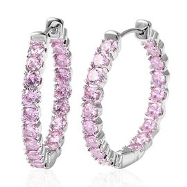 Simulated Pink Sapphire Hoop Earrings in Silver Tone with Clasp