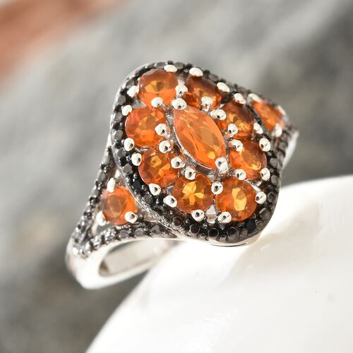 Jalisco Fire Opal (Mrq), Boi Ploi Black Spinel Cluster Ring in Black and Platinum Overlay Sterling Silver 1.250 Ct.