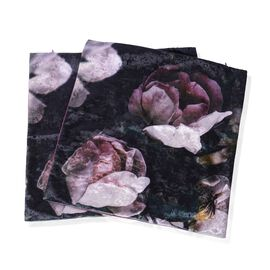 Set of 2- Purple and Multi Colour Cushion with Purple Peony Print(Size 45x45 Cm)