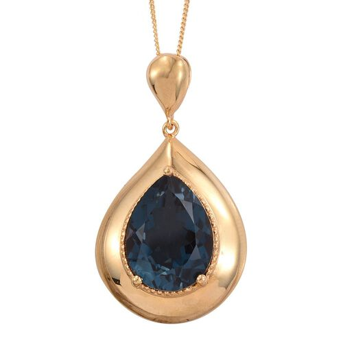 Indicolite Quartz (Pear) Solitaire Pendant With Chain in 14K Gold Overlay Sterling Silver 9.500 Ct.