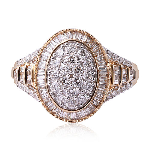 ILIANA 18K Yellow Gold IGI Certified Diamond (Rnd and Bgt) (SI / G-H) Ring 1.00 Ct, Gold wt 5.50 Gms, Number of Diamonds 102