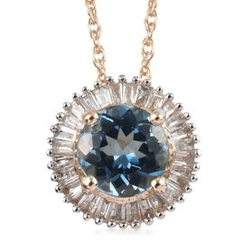 1 Carat AAA Santa Maria Aquamarine and Diamond Halo Pendant with Chain in 9K Gold 3.24 Grams