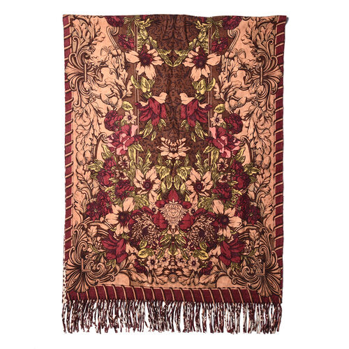 LA MAREY Super Soft 100% Lambswool Reversible Beige Leopard and Burgundy Floral Pattern Shawl with Tassels (180x65cm)