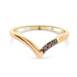 Red Diamond Wishbone Ring in 14K Gold Overlay Sterling Silver