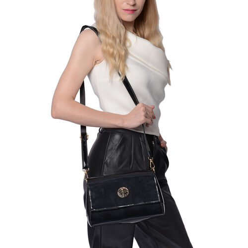 100% Genuine Leather Crossbody Bag with Adjustable Shoulder Starp (25x9.5x17cm) - Black