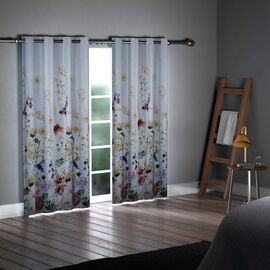 SERENITY NIGHT Set of 2 -  Floral Pattern Blackout Curtain with 8 Eyelets and LED Band (Size 140x240cm) - Lilac & Multi