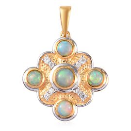 AA Ethiopian Welo Opal and Natural Cambodian Zircon Pendant  in Platinum and Yellow Gold Overlay Ste