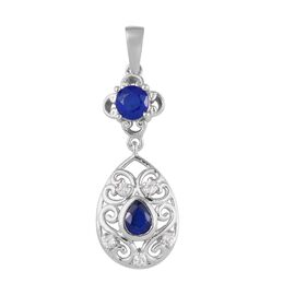 Tanzanian Blue Spinel and Natural Cambodian Zircon Pendant in Platinum Overlay Sterling Silver 1.00