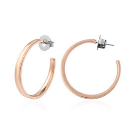 Hoop Earrings (with Push Back) in Rose Gold Tone