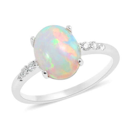 ILIANA 2.41 Ct AAA Ethiopian Welo Opal and Diamond Solitaire Ring in 18K White Gold
