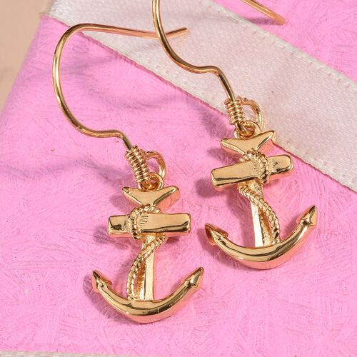 14K Gold Overlay Sterling Silver Anchor and Rope Hook Earrings