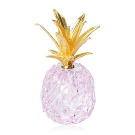 Crystal Decorations - Crystal Pineapple (Size 10x5.5 Cm) - Pink and Gold