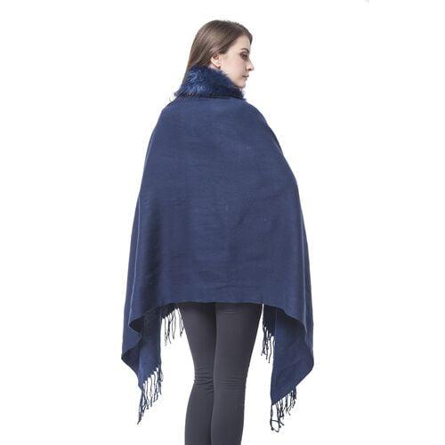 Designer Inspired Faux Fur Trimmed Cape - Navy Blue (One Size)