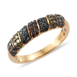 Multi Colour Diamond (Rnd) Ring in 14K Gold Overlay Sterling Silver 0.330 Ct