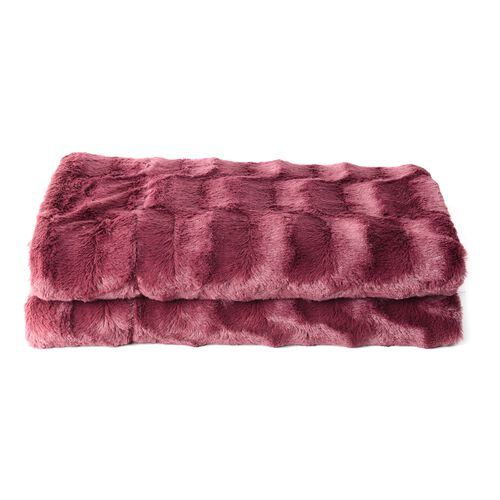 Maroon Colour Block Texture Pattern Faux Fur Reverses To Mink Throw in Burgundy Colour (Size 200x150 Cm)