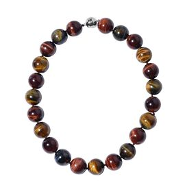 Rare Size Multi Colour Tiger Eye (Rnd 19-21 mm) Necklace (Size 20) with Magnetic Lock in Rhodium Ove
