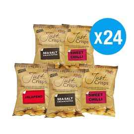 Just Crisps 24 x 40g Spicy pack 8 Black Pepper, 8 Sweet Chilli, 8 Jalapeno
