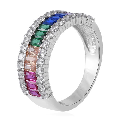 ELANZA Simulated Rainbow Sapphire, Simulated Diamond Ring in Rhodium Overlay Sterling Silver 5.31 Ct.