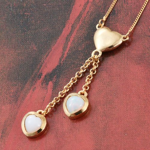 Ethiopian Welo Opal (Hrt) Heart Pendant with Chain (Size 18) in 14K Gold Overlay Sterling Silver 1.000 Ct.