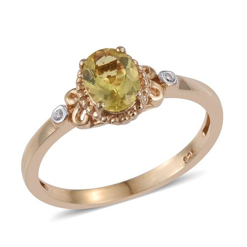Natural Canary Apatite (Ovl 1.45 Ct), Natural Cambodian Zircon Ring in 14K Gold Overlay Sterling Silver 1.500 Ct.