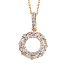 0.33 Ct Diamond Circle Pendant With Chain in Gold Plated Sterling Silver 20 Inch