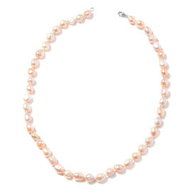 Freshwater Peach Pearl Beaded Necklace in Rhodium Plated Sterling Silver 20 Inch