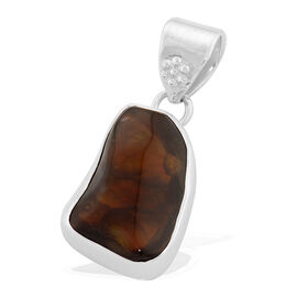 21 Carat Jewels of India Fire Agate Solitaire Pendant in Sterling Silver