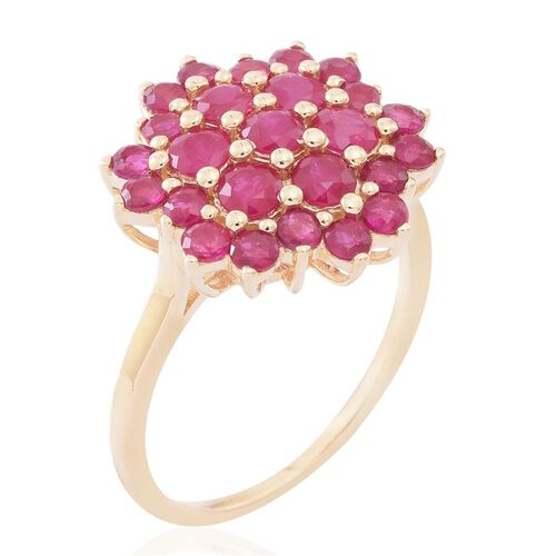9K Yellow Gold AA Burmese Ruby (Rnd) Floral Ring 3.250 Ct.