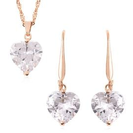 2 Piece Set - Simulated Diamond (Hrt) Hook Earrings and Pendant with Chain (Size 18 with 2 inch Exte