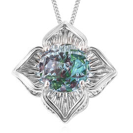 Galatea DavinChi Cut Collection - Blue Topaz, Russian Diopside and Mozambique Garnet Pendant with Ch