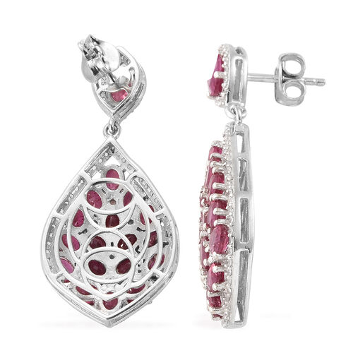Limited Edition- AAA  African Ruby (Ovl), Natural Cambodian Zircon Earrings (with Push Back) in Platinum Overlay Sterling Silver 11.500 Ct, Silver wt 6.30 Gms, Number of Gemstone 192.