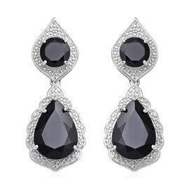 18.22 Ct Boi Ploi Black Spinel Dangle Earrings with Push Back in Rhodium Plated Silver 5.20 Grams