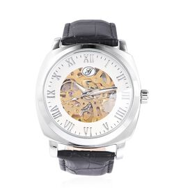 GENOA Automatic Skeleton Water Resistant Watch with White Hollow-out Dial and Black Leather Strap
